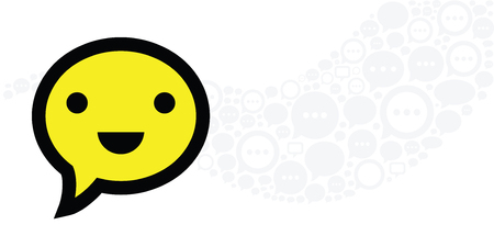 vector illustration of smiling face in speech bubble shape for relationship and talk designs Archivio Fotografico - 126179556