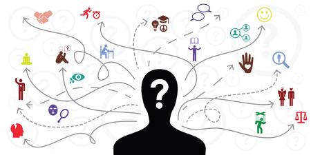 vectorillustratie van persoonssilhouet en pijlen voor de selectie en voorkeuren van verschillende levensactiviteiten