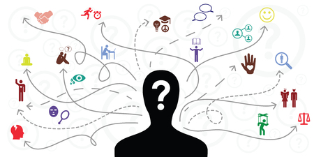 Vektorillustration der Personensilhouette und der Pfeile für die Auswahl und Vorlieben verschiedener Lebensaktivitäten