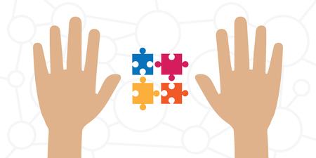 illustration vectorielle des mains et puzzle coloré pour la solution du problème et les concepts de traitement des tâches complexes