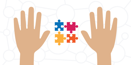 vector illustration of hands and colorful puzzle for problem solution and complex tasks processing concepts