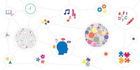 vector illustration of different sensory toys and motor skills development tools horizontal banner Çizim
