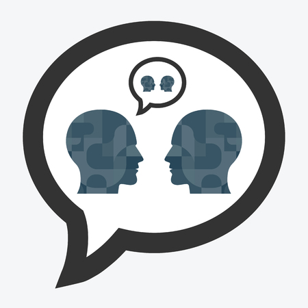 vector illustration of couple with two silhouettes in speech bubble shape for relationship and talk designs