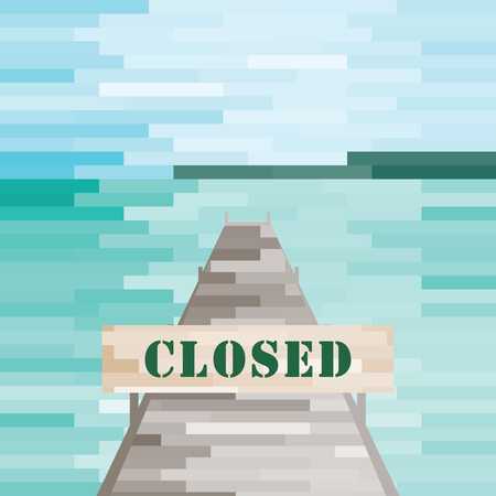 vector illustration of beach and wooden dock with closed road sign Ilustração