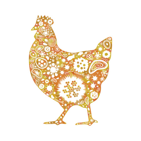 vector illustration of bacteria and pathogens in chicken shape design for bird infections visuals Archivio Fotografico - 126179631