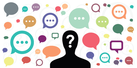 vector illustration of person silhouette with question mark and comments speech bubbles