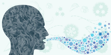 vector illustration of human and snowflakes stream for fresh breath and dental health visuals