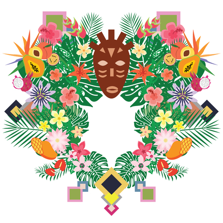 vector illustration of indigenous mask and exotic tropical plants and fruits for tribal style decorative banners