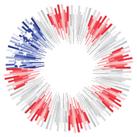 vector illustration of circle decoration with American flag and stars for celebration and greetings with free space for text Ilustração