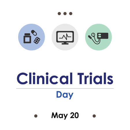 vector illustration for clinical trials day in May