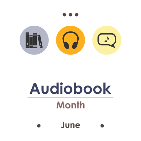 vector illustration for audiobook month in June
