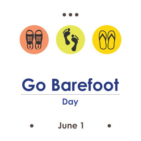 vector illustration for go barefoot day in June