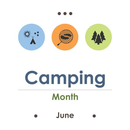 vector illustration for camping month in June 向量圖像