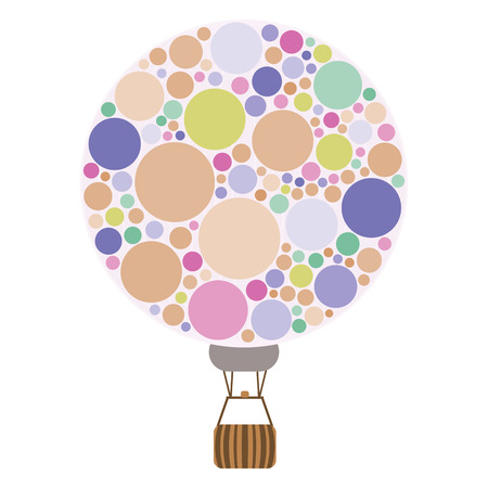 vector illustration of bubbles in hot air balloon shape for sky travel and romantic trips visuals and emblems