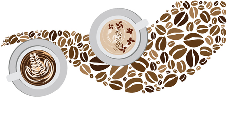 vector illustration of coffee latte mugs with beans for drink and bar concepts