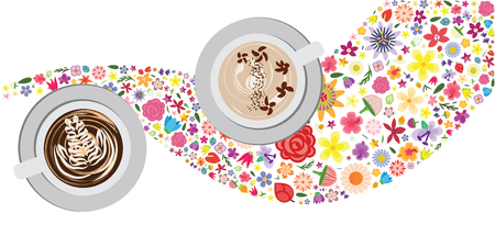 vector illustration of frappe mugs with floral design for summer coffee brews and cocktails Illustration