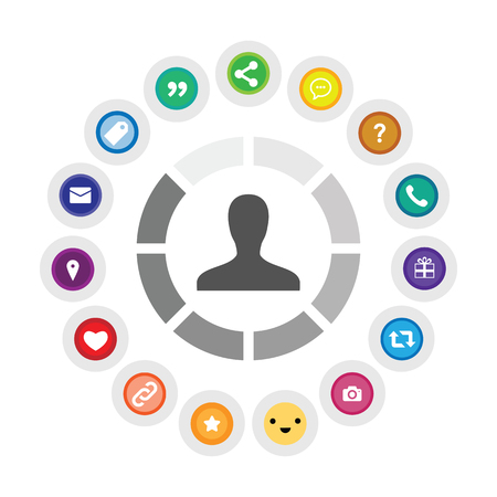 vector illustration of person and social media icons for customer focused marketing concept