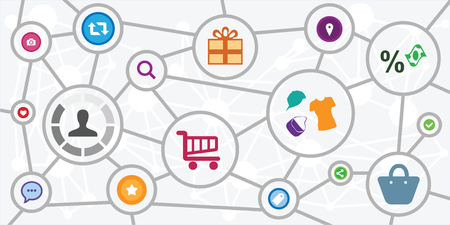 vector illustration of user and online shopping items for customer journey concept