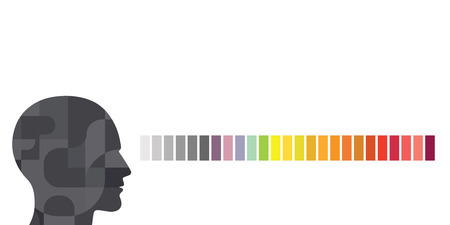 vector illustration of person and rainbow spectrum or palette for color vision concepts Illustration