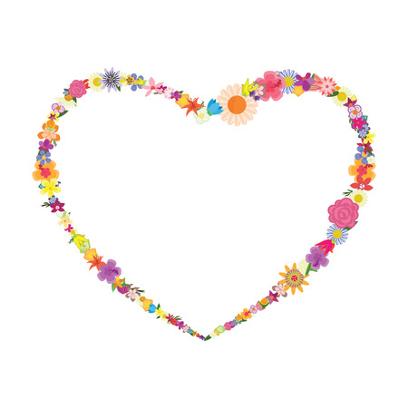 vector illustration of heart shape frame with colorful flowers for greeting cards and celebration decoration