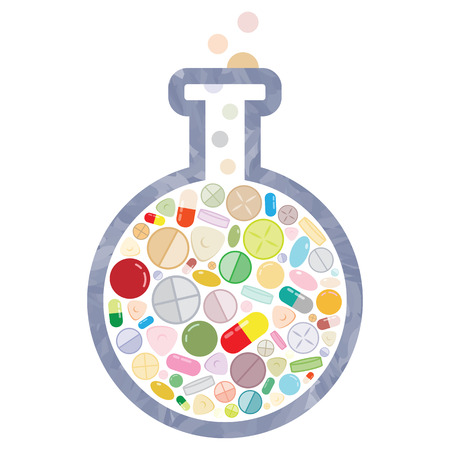 vector illustration of pills in flask for medical treatment and pharmacy industry innovations and research