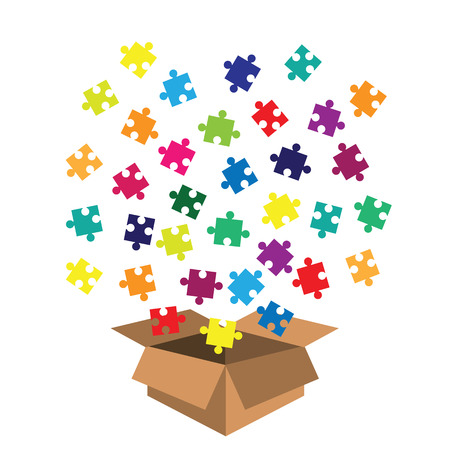 vector illustration of box with jigsaw puzzle toy for kids and toddlers Archivio Fotografico - 126179510