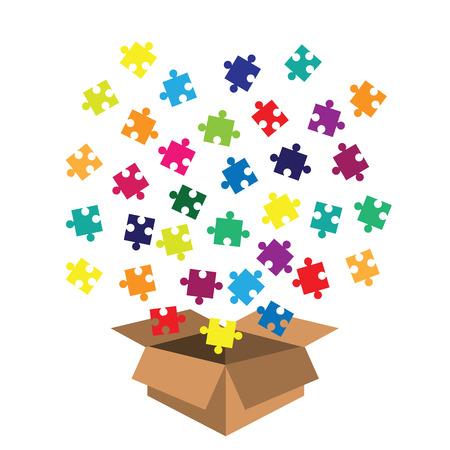 Vektor-Illustration der Box mit Puzzle-Spielzeug für Kinder und Kleinkinder