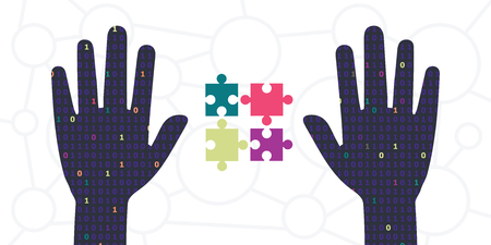 vector illustration of digital binary code patterned hands holding jigsaw puzzle for solutions and virtual reality creation concepts Illustration