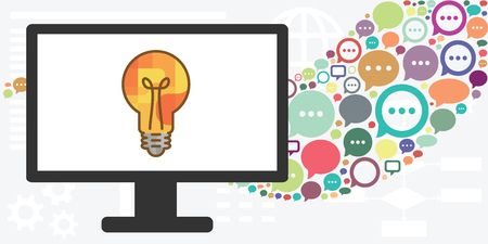 vector illustration of computer screen with bulb and comments for online communication and new ideas Vectores