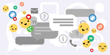 vector illustration of comments communication and social media icons for customer support and and online chat concept