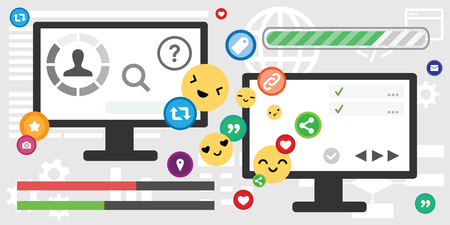 vector illustration of screen desktop social media icons for customer support and and online chat concept Çizim