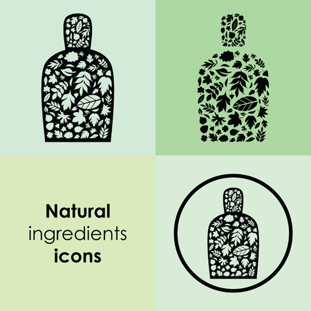 vector illustration of different leaves in bottle shape design for natural cosmetics and plant based remedies packaging and logo Archivio Fotografico - 126179418