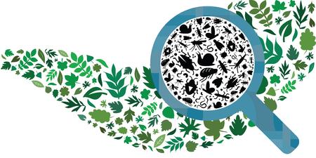 Ilustración vectorial de diferentes bichos e insectos y hojas en forma de onda con lupa para la protección de las plantas en la agricultura