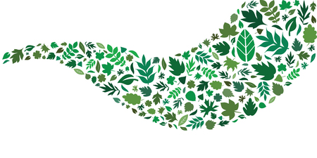 vector illustration of green leaves in wave shape design for natural cosmetics and plant based remedies packaging decoration and borders Archivio Fotografico - 126179420