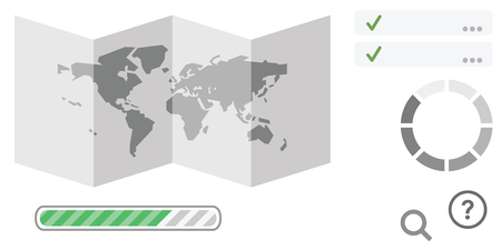 vector illustration of folded map and loading bars for worldwide tourism guidance and international transfers digital assistance Çizim