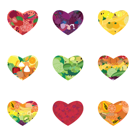 vector illustration of fruits and vegetables hearts pattern for healthy nutrition backgrounds and decoration