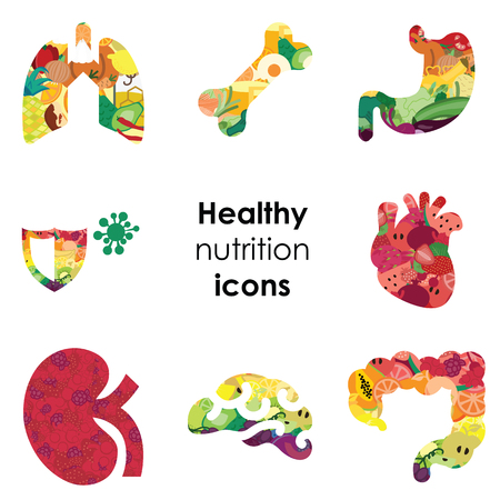 Ilustración vectorial de los órganos del cuerpo humano con patrón de frutas y verduras para efectos visuales de nutrición saludable