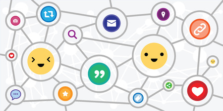 vector illustration of emoji and social media icons for customer support and social media network communication Archivio Fotografico - 126179426