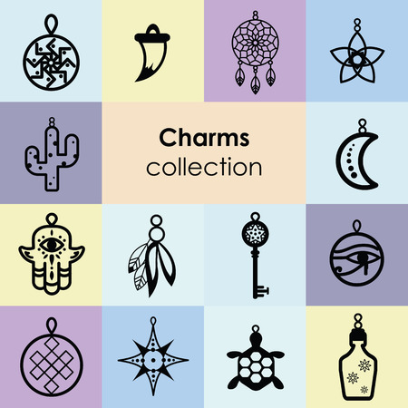 vector illustration of amulets and charms for magical protection and luck accessories