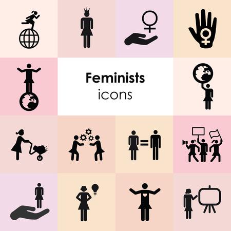 vector illustration of feminism symbols and women power icons Çizim