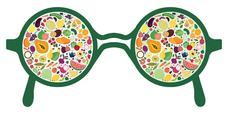 vector illustration for different fruits and vegetables in glasses reflection design for healthy nutrition and diet expert advices Archivio Fotografico - 126179429