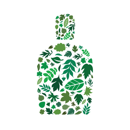 vector illustration of green leaves in bottle shape design for natural cosmetics and plant based remedies packaging