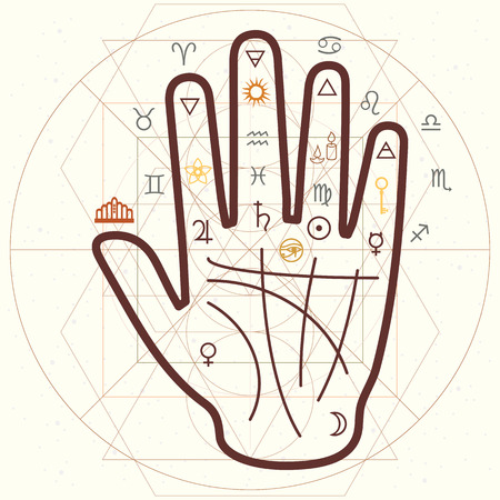 vector horizontal illustration of palm reading and scared symbols in retro style vintage colors