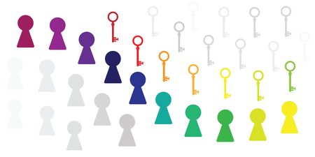 vector illustration of colorful keyholes with matching keys for answers and solutions research strategy Archivio Fotografico - 126179452