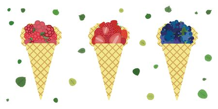 vector illustration for berries cones with strawberries raspberries and blueberries in waffle