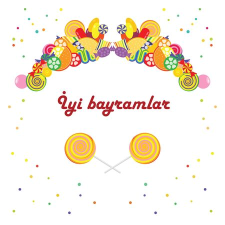 vector illustration of symmetrical candies frame with text Iyi bayramlar in turkish Happy Holiday for text or greeting