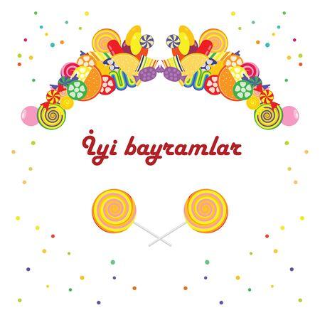 导航对称糖果框架的例证与文本Iyi Bayramlar的在土耳其语的愉快的假日文本或问候