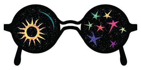vector illustration of colorful sunglasses with stars and galaxy for hipster fashion concepts Ilustrace