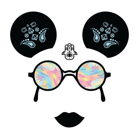 vector illustration of woman face with colorful glasses party hairstyle and hamsa tattoo for festival style concepts Illustration