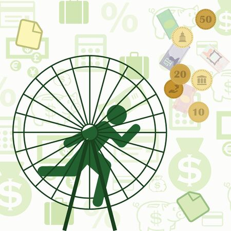 vector illustration for person running inside wheel for success and financial wellness for management and unproductive work concepts Illustration
